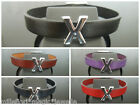 """Leather Wristband Bracelet With Initial """"X"""" Slide Charm ~ Choose Colour & Length"""