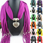 Women Ladies Heart Tassel Gemstone Pendant Charm Jewellery Scarf Necklace Stole