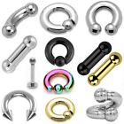 Heavy Large Gauge Ball Closure Ring BCR - PA Bar Straight Barbell Curved Spiral