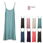 Women's Layer Extra Long Stretch Cami Tank Top A-Line Bandage Mini Dress Summer