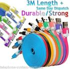 3M LONG NOODLE USB DATA SYNC CHARGER CABLE LEAD for iPhone 3 3G 4 4S iPad 1 2