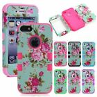 Floral Hybrid Heavy Duty Shockproof Rubber Matte Case For iPhone 4 4S 5 5S 5C 6