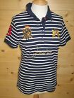 JOULES Beaufort Polo Shirt Fr Navy Stripe Sizes 8 10 & 12 RP£39.95 Free UK P&P