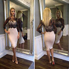 UK WOMENS SEXY LACE PROM BODYCON PARTY DRESS COCKTAIL SLIM EVENING PENCIL DRESS