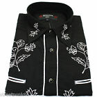 Relco Black Cowboy Western Line Dancing Flower Embroidered Shirt Red Star Rodeo