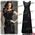 Women Sexy Black Lace Open Back Long Prom Ball Formal Evening Party Maxi Dresses