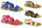 LADIES SUMMER ELASTICATED /SYNTHETIC CROSS OVER STRAPS DOWN TO EARTH F10323