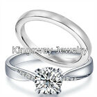 Hers 2pc Diamond Cut Engagement Ring Set 925 Sterling Silver