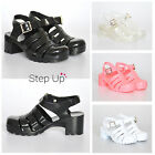 NEW CHILDRENS CHUNKY BLOCK HEEL JELLY ANKLE STRAP SUMMER BEACH RETRO SANDALS