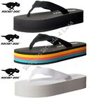 Womens Rocket Dog Cleo Webbing Stripe Wedge Flip Flops White Black Stripe Size