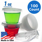 100ct 1oz Jello Jelly Shot Souffle Portion Cups with Lids Option, Clear Plastic