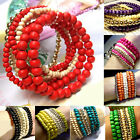 Fashion Women Handmade Stretch Jewelry Multilayer Wooden Beads Charm Bracelet