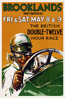 Vintage Poster Motor Racing Poster Brooklands 1930s Retro Grand Prix Art Deco