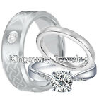 His and Hers Wedding Rings 3 pcs ENGAGEMENT CZ 925 Sterling Silver Tungsten SET