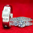 His and Hers Wedding Rings 3 piece ENGAGEMENT CZ 925 Sterling Silver SET