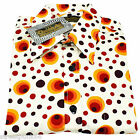 Chenaski Mens 70s Retro Dots & Spots Orange Psychedelic Hippy Pop Art Shirt VTG