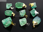 Natural Green Fluorite Gemstone Oval Octagonal Pendant Charm Beads Necklace Gold