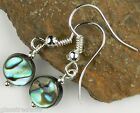 FREE P&P double sided Abalone shell drop ear-rings - 8 mm (+/-) - (round/coin)