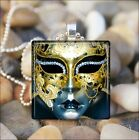"""ORNATE FACE MASK"" THEATER MARDI GRAS MASK GLASS TILE PENDANT NECKLACE KEYRING"