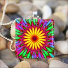 """KALEIDOSCOPE FLOWER"" TIE DYED SUNBURST ART GLASS TILE PENDANT NECKLACE KEYRING"