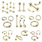 Gold Plated Labret Tragus Cartilage Lip Bar Horseshoe CBR Piercing Ear Ring Rose
