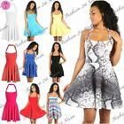 Womens Ladies Halter Neck Backless Pleated Party Mini Skater Dress Size UK 8-26