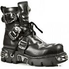 NEWROCK New Rock 407-S1  Silver Cross Black Leather Boots