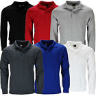 New Mens Long Sleeve Polo Shirt Pull Over Jumper Neck Quality Sleeved Top Casual