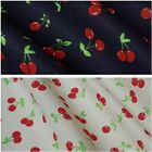 Cherry Design Printed Polycotton Fabric - 2 Colours (Per Metre)