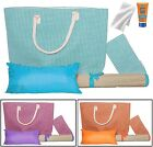 Swiss Wear 6 pc Beach Bag Set  W/ Bamboo Woven Straw Yoga Mat rug camping