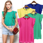 New Women Fashion T Shirt Loose Crew Neck Chiffon Short Sleeve Vest Blouse S-XL