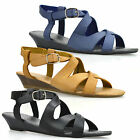 Ladies Womens Low Wedge Heel Strappy Buckle Summer Gladiator Sandals Shoes Size
