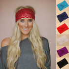 Elegant Womens Crochet Lace Knit Floral Hoop Wide Stretch Headband Hair Band