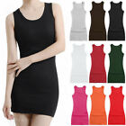 Women's Layer Ribbed Extra Long Fitted Stretchy Cami Tank Top Mini Dress  M-2XL