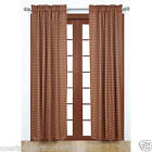 Burgundy Tan Check Window Panels Drapes Primitive Country Curtains Cabin Lodge