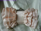 ORANGE PINK/CHAMPAGNE BOW SATIN WEDDING BAG/EVENING PURSE/CLUTCH
