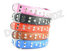 DIAMANTE RHINESTONE SUPERSOFT ITALIAN LEATHER DOG COLLAR BLACK PINK RED BLUE