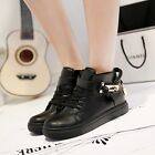 Women's Lace Up Decorative metal Skateboard High-top Sneakers Sports Shoes
