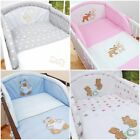 LUXURY 3 PC BEDDING SETS EMBROIDERED FOR COT / COT BED QUILT PILLOW COVER BUMPER