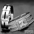 His and Hers 4pc 925 Sterling Silver Halo Titanium Engagement Wedding Rings Set