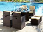 Rattan Cube Set Garden Furniture Dining Table and Chair Stool Brown Black Grey