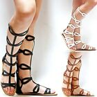 New Women BC3 Tan Black Off White Strappy Gladiator Mid Calf High Tall Sandals