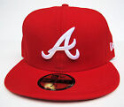 Atlanta Braves Red On White Logo All Sizes Fitted Cap Hat by New Era