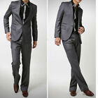 2015 New mens Premium slim fit 1BTN 2pieces dress suit jacket pant trouser Grey