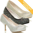 WOMENS LADIES LOW MID HEEL WEDDING PROM BRIDAL DIAMANTE PUMPS COURT SHOES SIZE