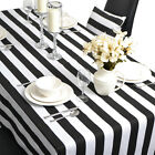 Rectangle 100% Cotton Table Cloth Tablecloth Cover Black White Strip 6 8 Seater