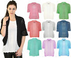 Ladies Knitted Crochet Bolero Shrugs Womens Cardigan Short Sleeve Top New 14-18