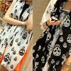 Black White Orange Scarf Scarves Skull Print Pattern Shawl Pashmina Wrap NEW