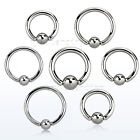 """PAIR 12G 10G 8G Surgical Steel Captive Bead Ring Septum Earrings 5/16"""" to 3/4"""" image"""