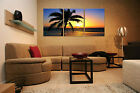 SUNSET/PALM TREE easy to hang 3 pc mounted fiberboard canvas/surpassed stretched